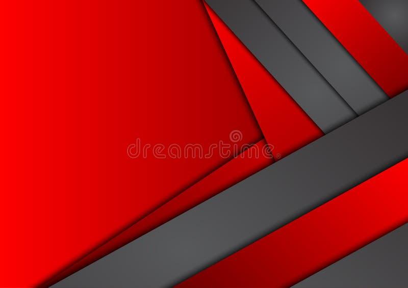 Fondo abstracto geométrico negro y rojo del vector stock de ilustración