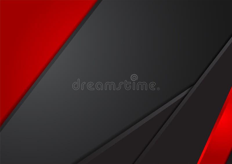 Fondo abstracto geométrico negro y rojo del vector ilustración del vector