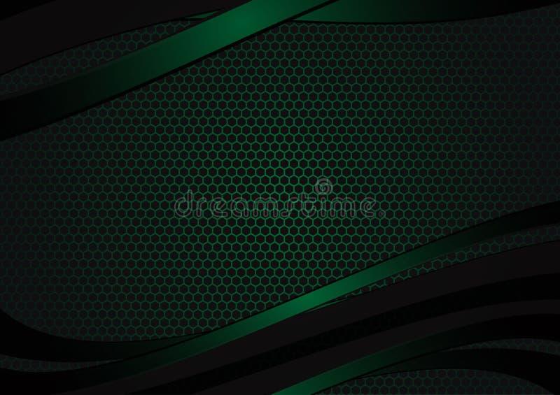 Fondo abstracto geométrico negro y verde del vector con el espacio de la copia con el diseño moderno del espacio de la copia para ilustración del vector