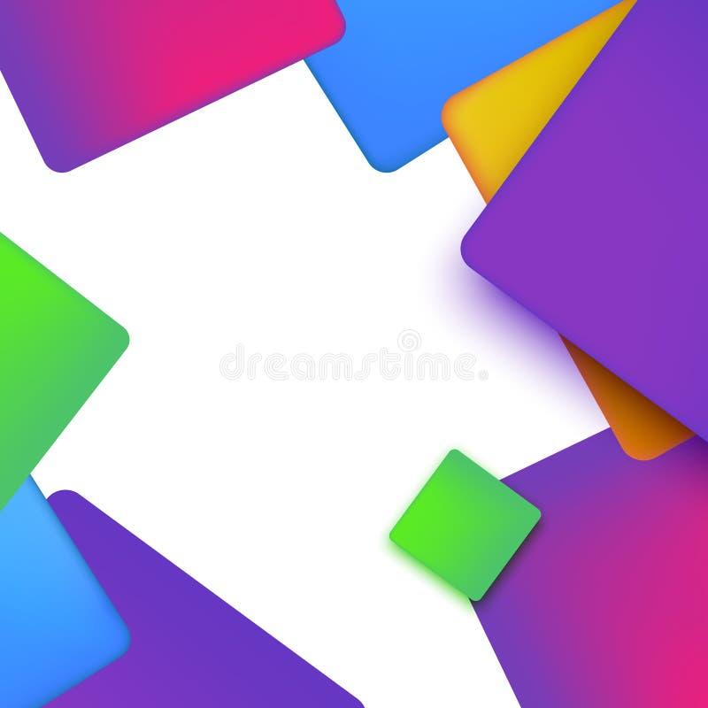 Fondo abstracto geométrico vibrante con formas simples en estilo del inconformista Diseño colorido para el folleto o el aviador d stock de ilustración
