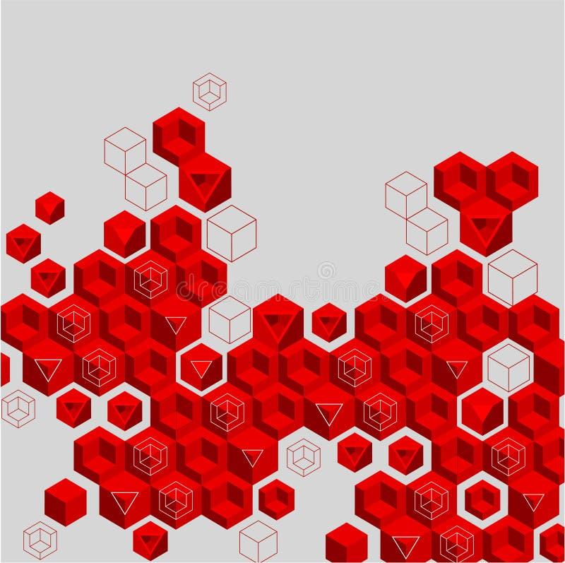 Fondo abstracto gris con el modelo geométrico rojo stock de ilustración