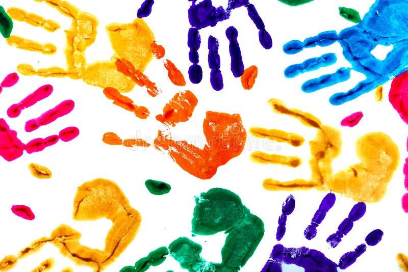 Fondo abstracto hecho de handprints coloreados ilustración del vector