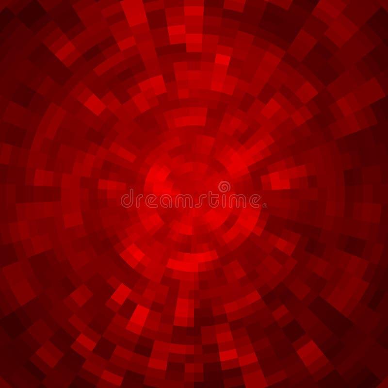 Fondo abstracto hecho de modelo de mosaico brillante Estilo del disco Color rojo ilustración del vector