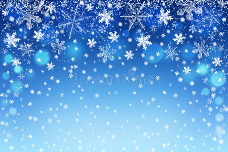 Fondo abstracto hermoso del bokeh de los copos de nieve de la Navidad para el diseño ilustración del vector