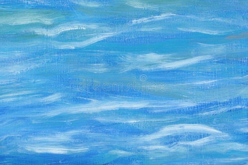 Fondo abstracto hermoso Pintura al óleo, abstracción del mar Colores azules y blancos mezclados Técnica inusual del arte trabajo  ilustración del vector