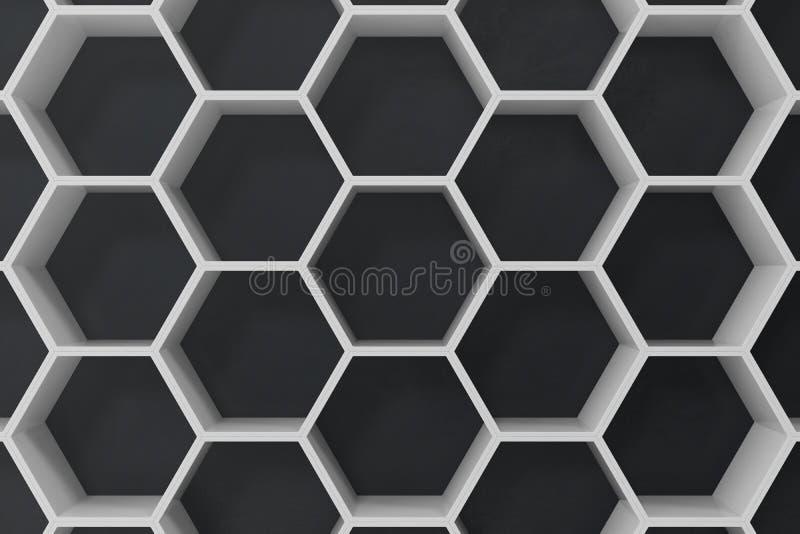 Fondo abstracto hexagonal geométrico blanco con la pared negra, representación 3D ilustración del vector
