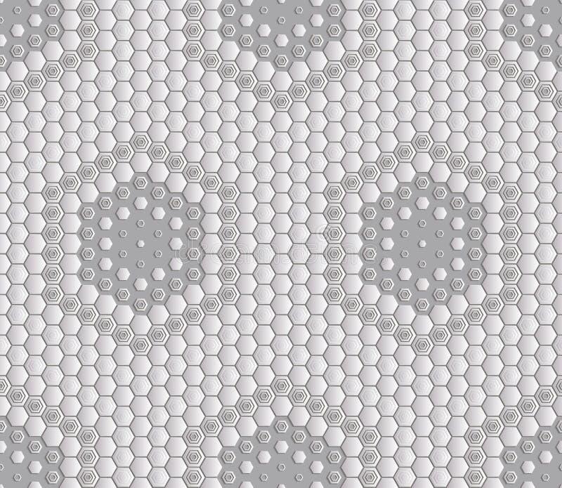 Fondo abstracto inconsútil de la teja - hexágonos El color del midtone del metal ilustración del vector