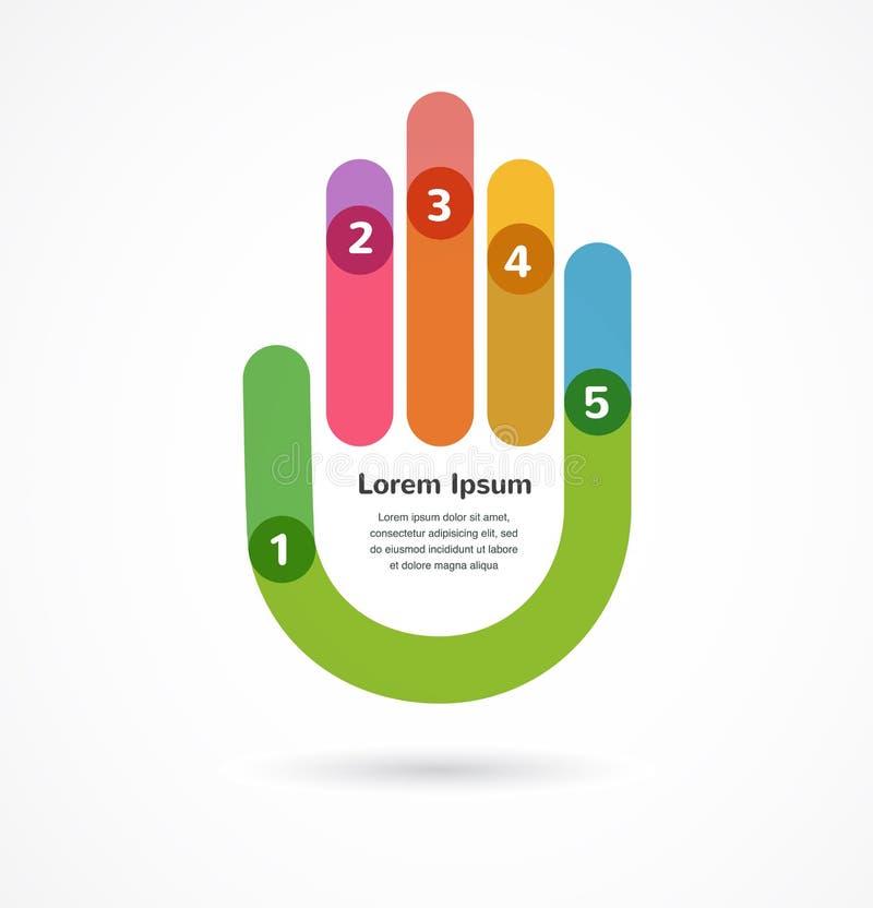 Fondo abstracto infographic con la mano ilustración del vector