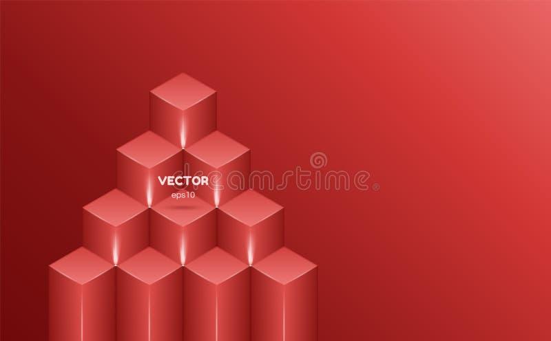 Fondo abstracto isométrico del color rojo bajo la forma de cuadrados Ilustración del vector ilustración del vector