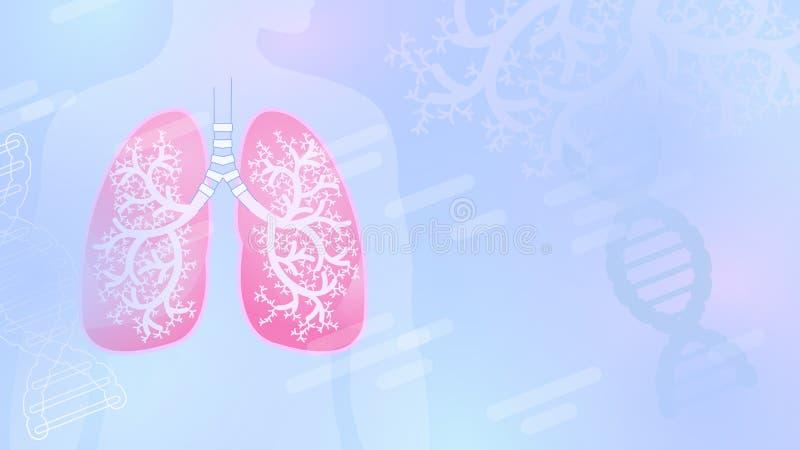 Fondo abstracto médico del vector con los pulmones y el árbol bronquial stock de ilustración