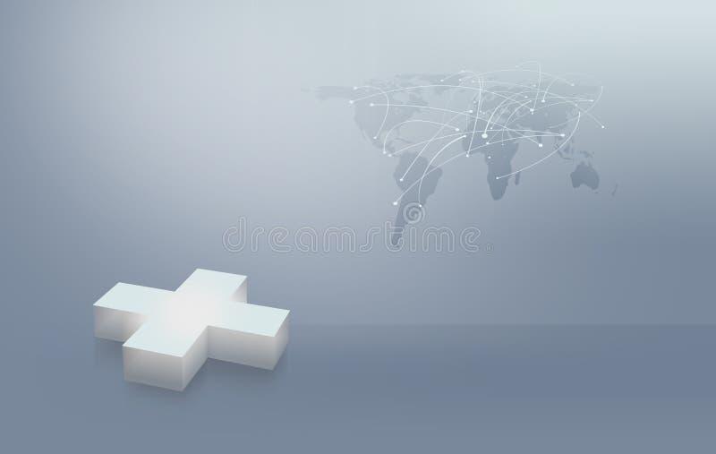 Fondo abstracto médico, signo más con el mapa del mundo f conveniente stock de ilustración