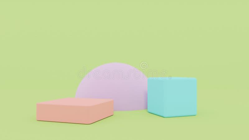 fondo abstracto mínimo Grupo geométrico abstracto de la forma en fondo verde 3d rinden foto de archivo libre de regalías