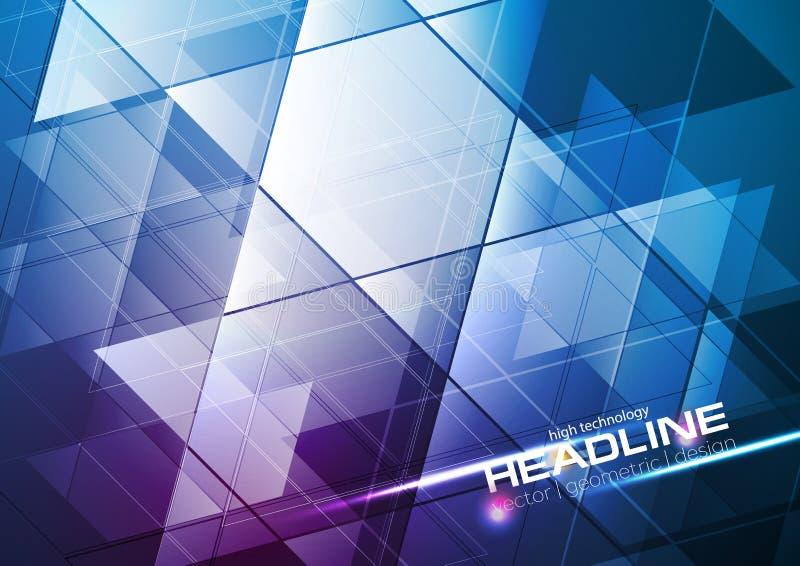Fondo Azul Metálico Abstracto De Diseño Moderno De La: Triángulos Azules De La Tecnología Y Fondo Abstracto De