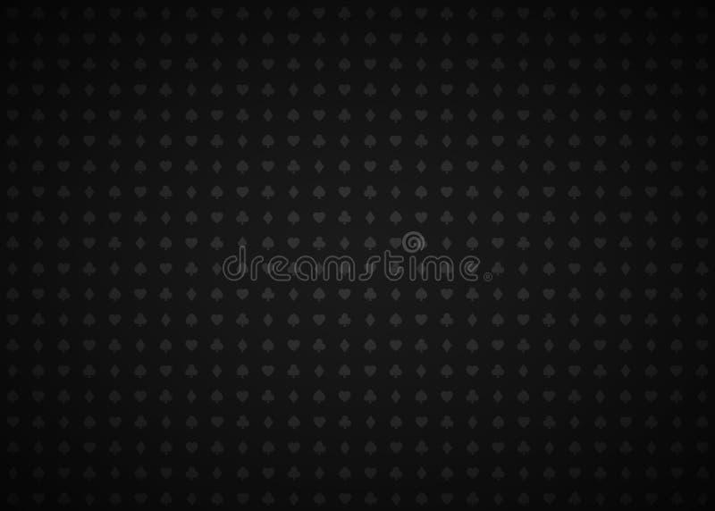 Fondo abstracto negro del casino del vector con las muestras de los naipes, símbolos grises en fondo negro stock de ilustración