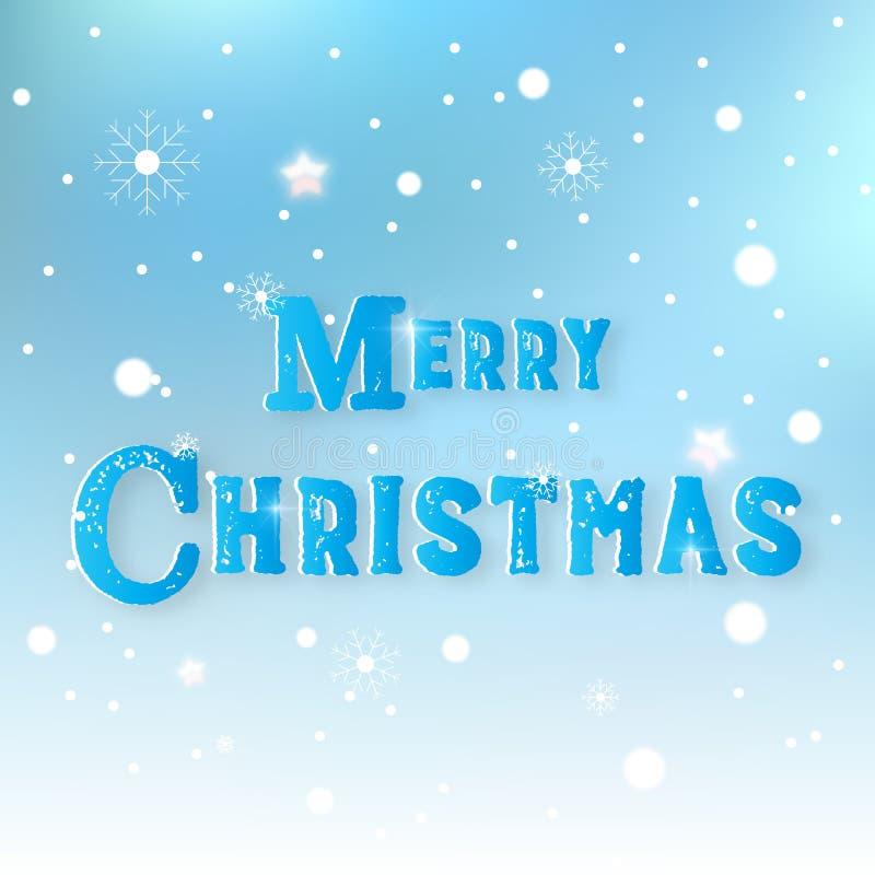 Fondo abstracto nevoso de la Feliz Navidad Texto de la bandera y de mensaje en concepto del día de fiesta Tema de Navidad Gr?fico stock de ilustración