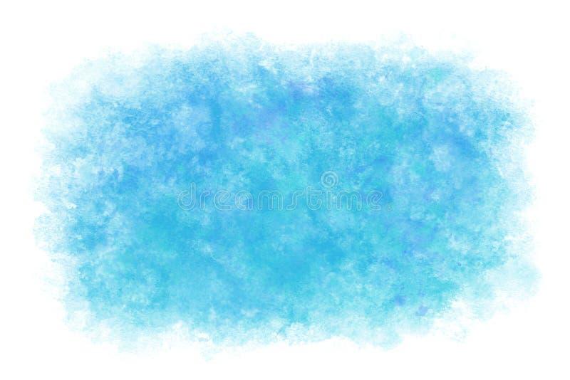Fondo abstracto o natural del agua azul del verano del color en colores pastel de la acuarela de la mano de la pintura, ejemplo d stock de ilustración