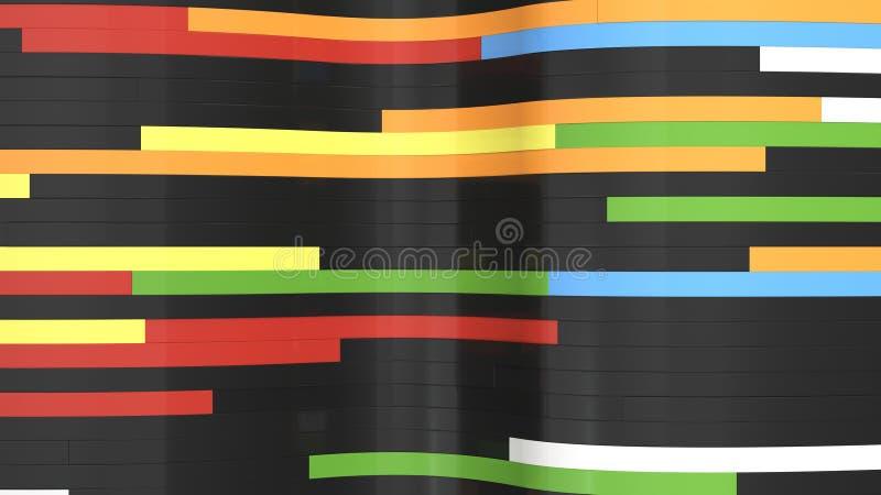 Fondo abstracto, ondas de tablones negros y coloridos stock de ilustración