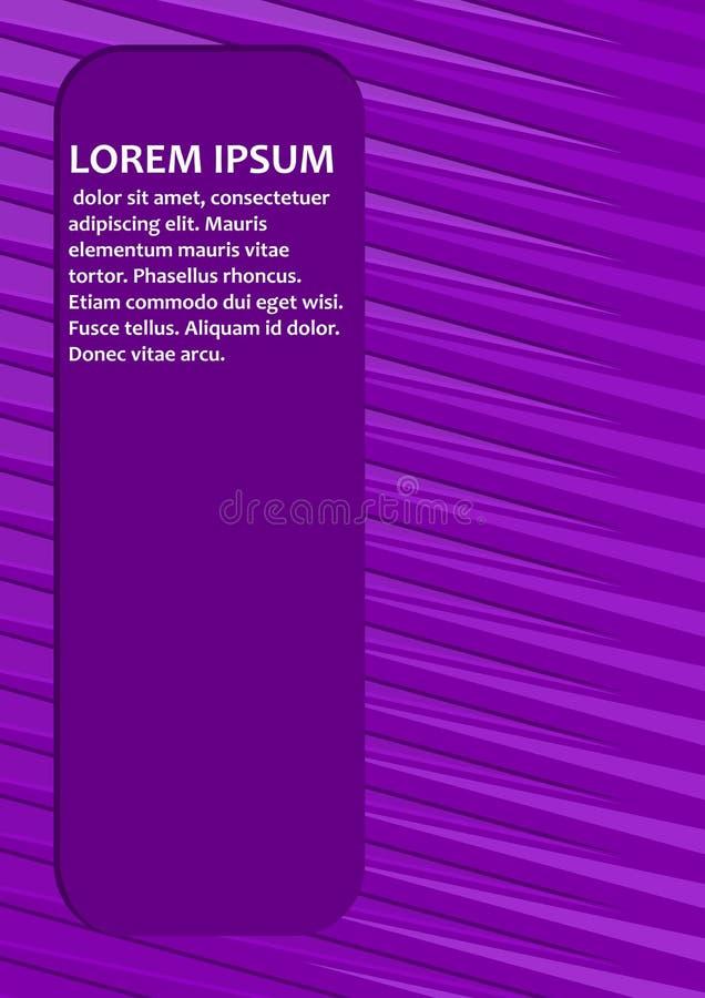Fondo abstracto púrpura con las tiras ligeras diagonales y con el campo para propio texto Mensaje de la muestra en las letras bla ilustración del vector