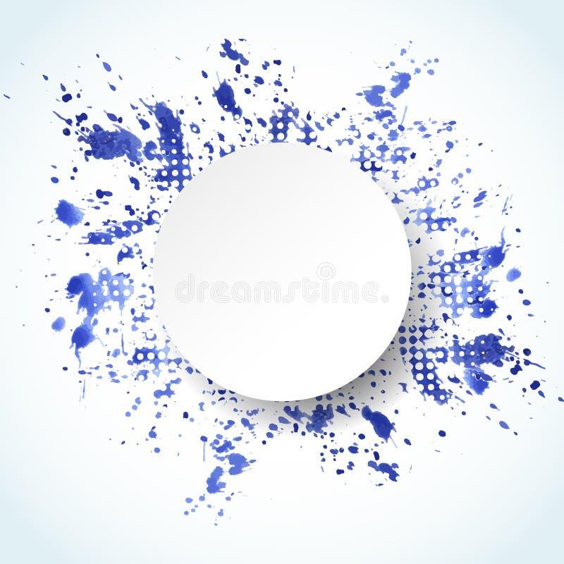 Fondo abstracto pintado acuarela Bandera del azul del chapoteo del vector libre illustration