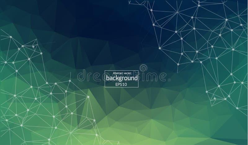 Fondo abstracto poligonal Ejemplo digital verde claro con los triángulos libre illustration