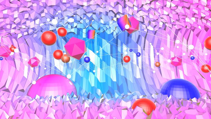 Fondo abstracto polivinílico bajo con colores modernos de la pendiente La superficie azul de la violeta 3d con rejilla y 3d se op imagen de archivo