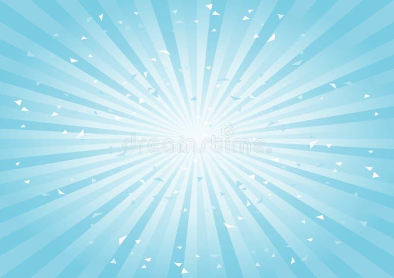 Fondo abstracto rasguñado Fondo ciánico azul claro suave de los rayos horizontal Vector stock de ilustración