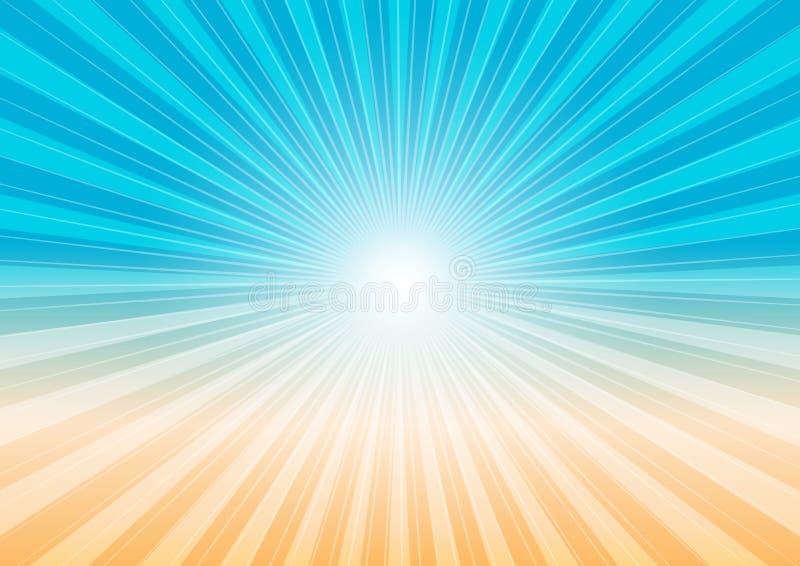 Fondo abstracto - rayos y playa de Sun stock de ilustración