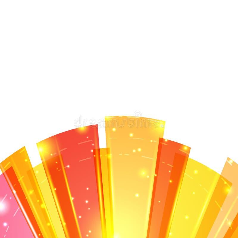 Fondo abstracto redondo brillante del rojo anaranjado abajo ilustración del vector