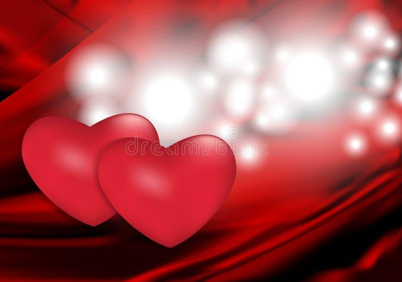 Fondo abstracto rojo con dos corazones para el diseño en el día y otros días de fiesta de la tarjeta del día de San Valentín Vect ilustración del vector