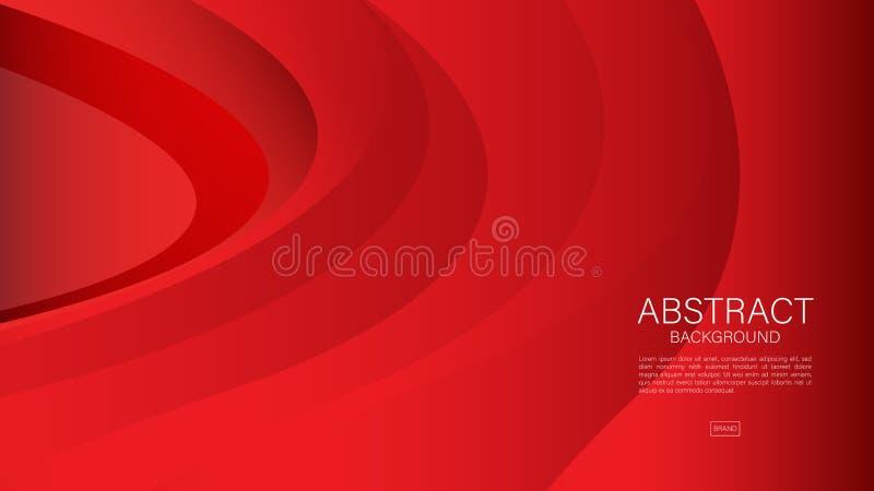Fondo abstracto rojo, onda, vector geométrico, textura gráfica, mínima, diseño de la cubierta, plantilla del aviador, bandera ilustración del vector