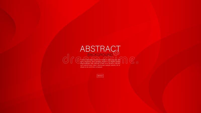 Fondo abstracto rojo, onda, vector geométrico, textura gráfica, mínima, diseño de la cubierta, plantilla del aviador, bandera libre illustration