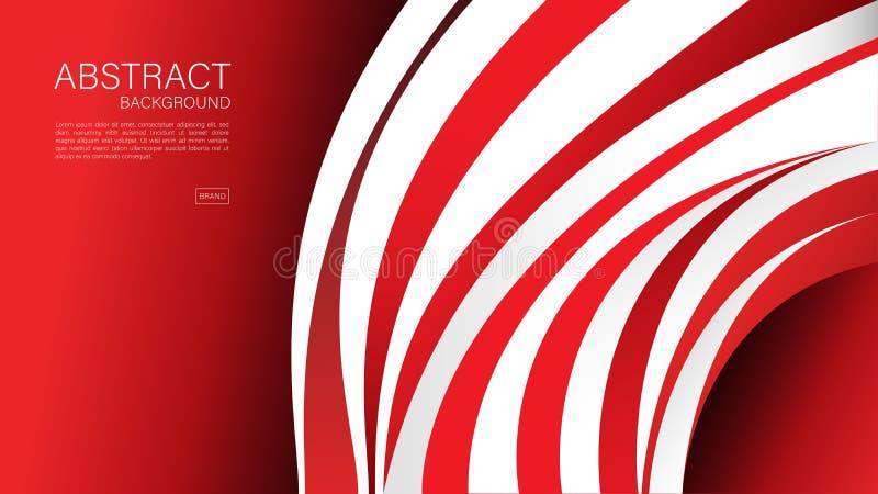 Fondo abstracto rojo, onda, vector geométrico, textura gráfica, mínima, diseño de la cubierta, plantilla del aviador, bandera, pá libre illustration