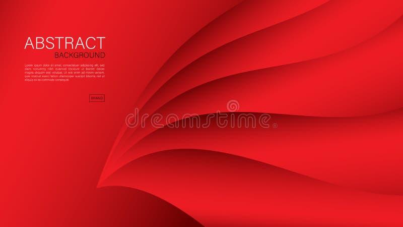 Fondo abstracto rojo, vector geom?trico, dise?o de la cubierta, plantilla del aviador, bandera, p?gina web stock de ilustración