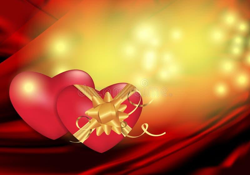 Fondo abstracto rojo y amarillo para el diseño en el día y otros días de fiesta de la tarjeta del día de San Valentín con dos cor libre illustration