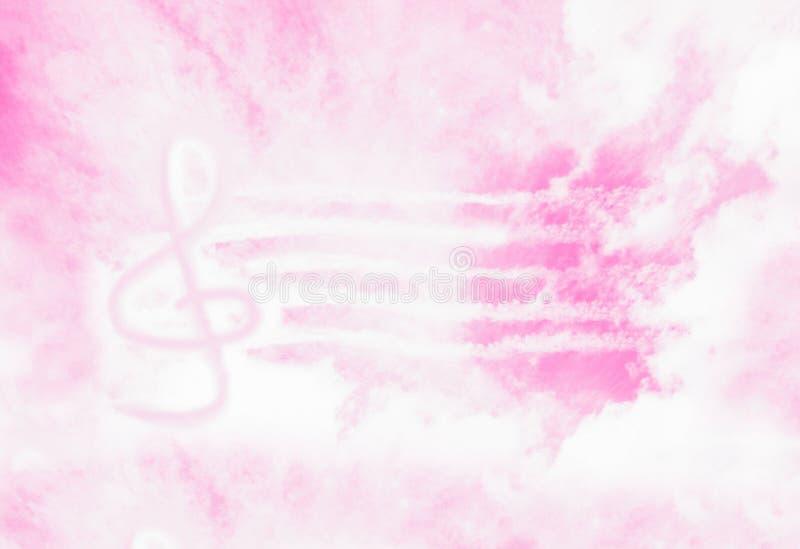Fondo abstracto rosado con la G-clave Muestra o clave de sol de la clave del violín de la música en el cielo Música en cielo libre illustration