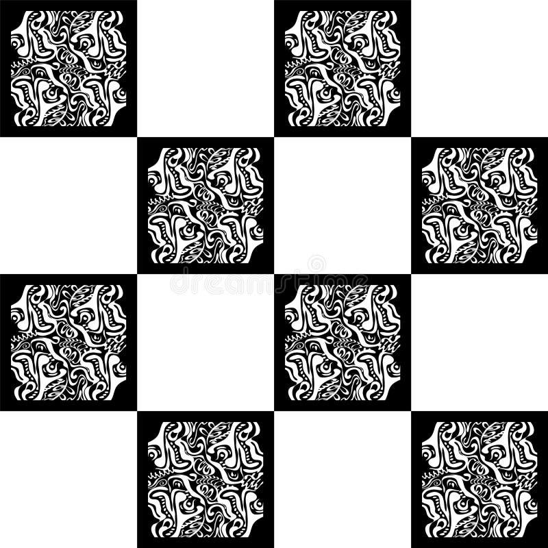 Fondo abstracto sin fin con formas al azar del tamaño Modelo de mosaico inconsútil del vintage del vector ilustración del vector