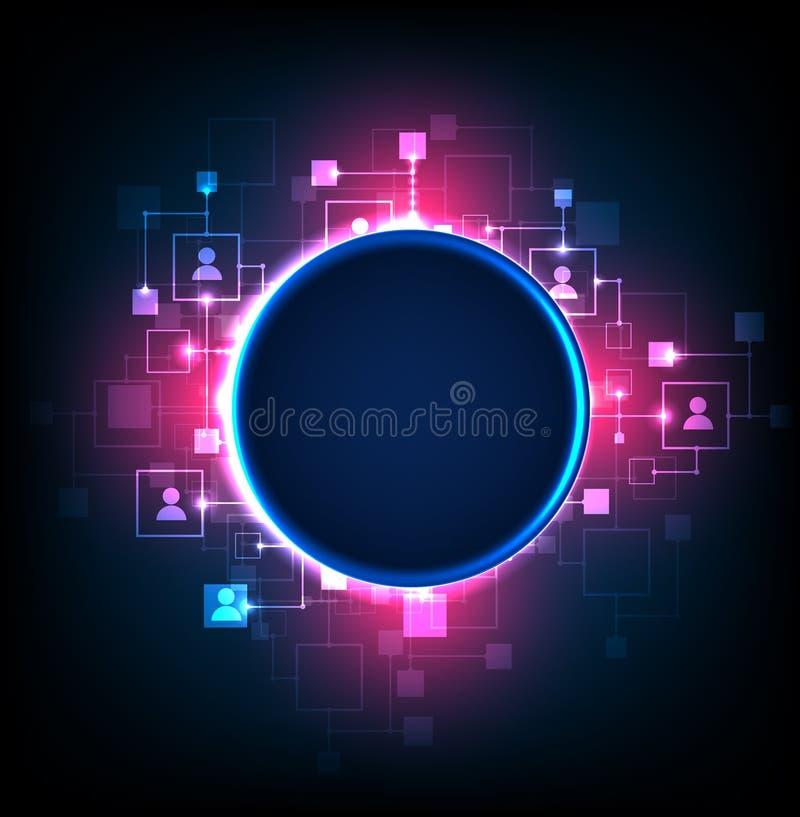 Fondo abstracto, tema de la tecnología de medios sociales stock de ilustración