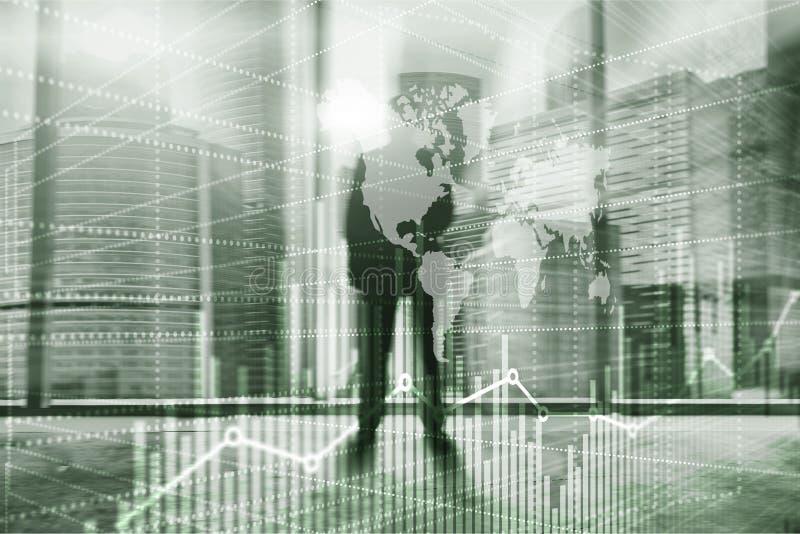 Fondo abstracto universal Siluetas de hombres de negocios Carta del gráfico del desarrollo económico Técnicas mixtas de la exposi foto de archivo