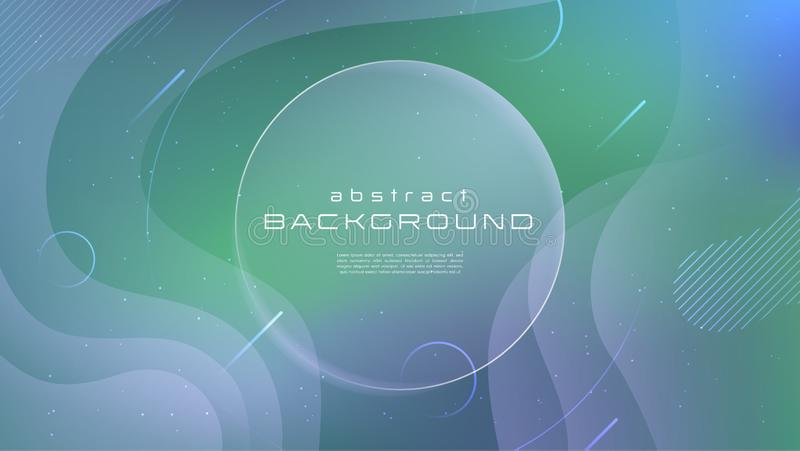 Fondo abstracto verde azul flúido del color suave de la pendiente El líquido forma concepto futurista Movimiento creativo geométr stock de ilustración