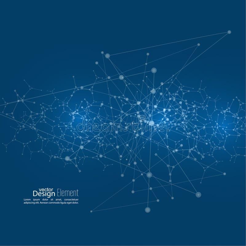 Fondo abstracto virtual con la partícula stock de ilustración