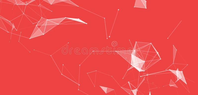 Fondo abstracto virtual con la partícula, estructura de la molécula compuestos genéticos y químicos creativo ilustración del vector