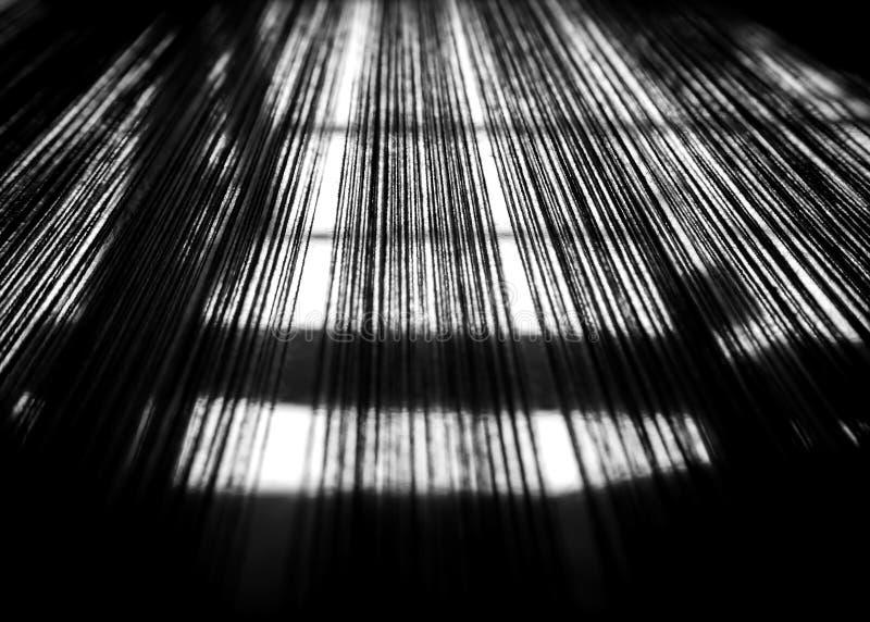 Fondo abstracto y de la falta de definición Línea de tela de algodón tailandesa negro fotos de archivo libres de regalías