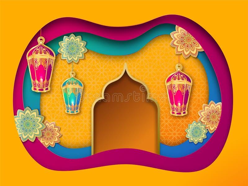 Fondo acodado de papel colorido adornado con las linternas, las flores y la mezquita de la ejecución stock de ilustración