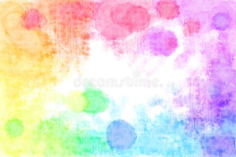 Fondo acquerello strutturato delle macchie dell'arcobaleno fotografia stock