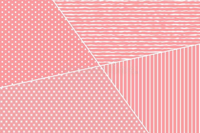 Fondo adornado rosado para las tarjetas del día de San Valentín, boda, tarjeta de felicitación del día de la madre ilustración del vector