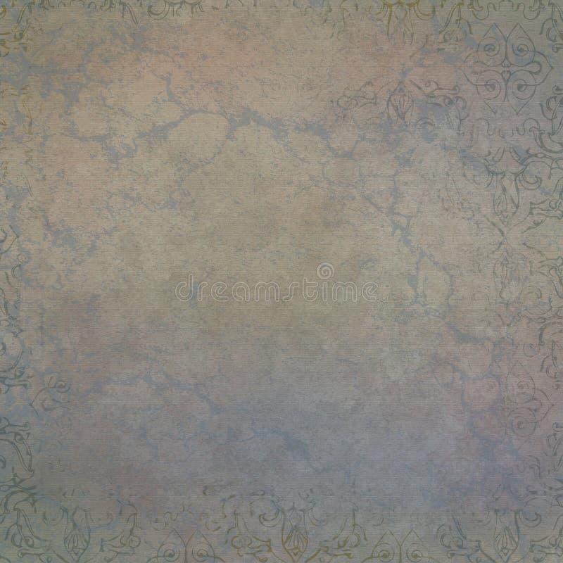 Fondo afflitto estratto della stampa floreale - tonalità beige blu dell'oro royalty illustrazione gratis