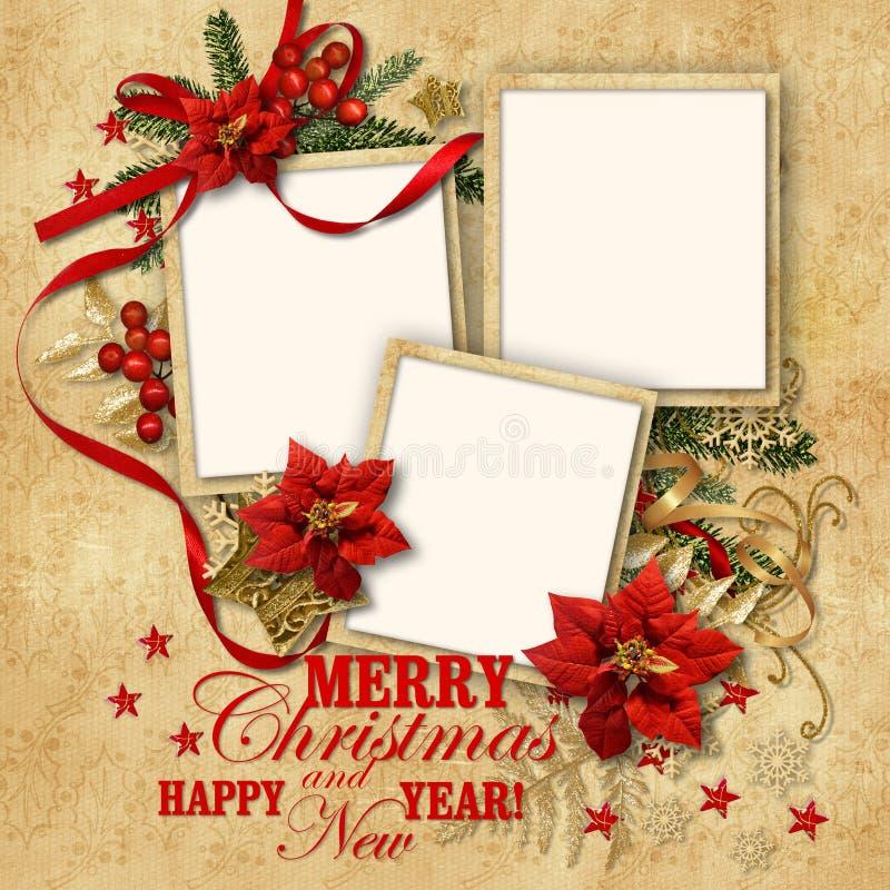 Fondo agradable del vintage de la Navidad con el marco para la familia stock de ilustración