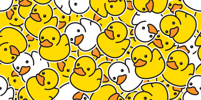 Fondo aislado bufanda ducky inconsútil de goma de la teja del papel pintado de la repetición de la ducha del baño del pájaro del  ilustración del vector