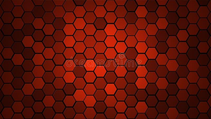 Fondo al azar de la teja de la rejilla del panal o textura hexagonal de la célula en rojo brillante del color con pendiente oscur imágenes de archivo libres de regalías