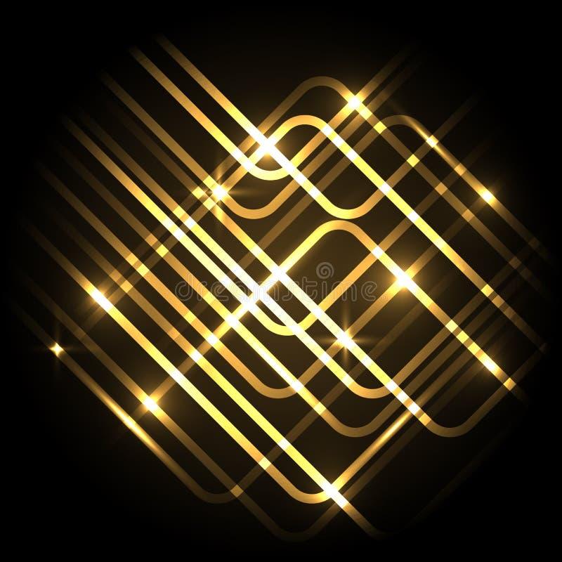Fondo al neon astratto dell'oro con le linee illustrazione di stock
